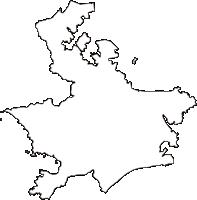 神奈川県横須賀市(よこすかし)の白地図無料ダウンロード