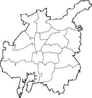 愛知県名古屋市名古屋市(なごやし)の白地図無料ダウンロード