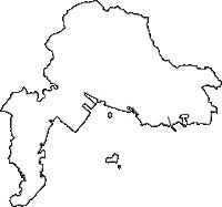 愛知県蒲郡市(がまごおりし)の白地図無料ダウンロード