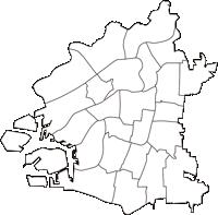 大阪府大阪市大阪市(おおさかし)の白地図無料ダウンロード