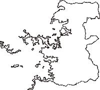 愛媛県うわじま市(うわじまし)の白地図無料ダウンロード