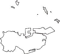 福岡県若松区(わかまつく)の白地図無料ダウンロード