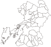 熊本県(くまもとけん)の白地図無料ダウンロード
